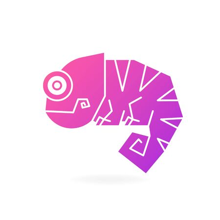 Cute Chameleon Logo On White Background Vector Illustration For Your Needs