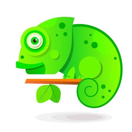 Chameleon Sitting On a Branch. Reptile Vector illustration Illustration