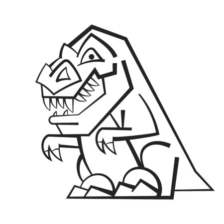 Funny Cartoon Dinosaur . Black And White Vector Illustration For Coloring