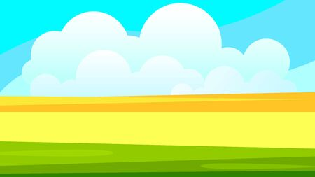 Rural Wheat Field Landscape Vector Illustration For Your Needs Çizim