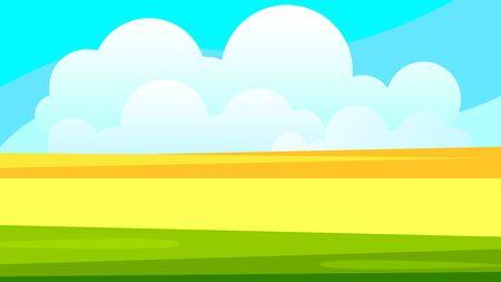 Rural Wheat Field Landscape Vector Illustration For Your Needs Ilustração