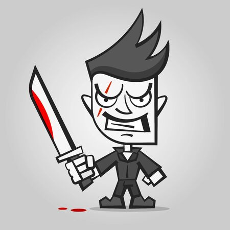 Killer With Bloody Knife Happy Halloween Vector Illustration