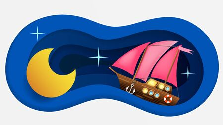 Good Night Landscape Vector Illustration In Paper Style
