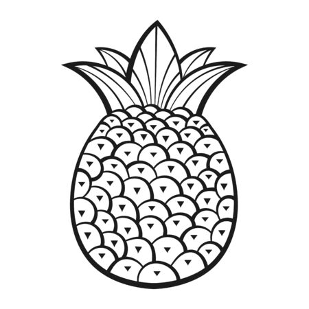 Pineapple, Exotic Fruits With Pattern. Vector. Coloring Book For Adults And Children. Hand Drawn Illustration. Summer Illustration