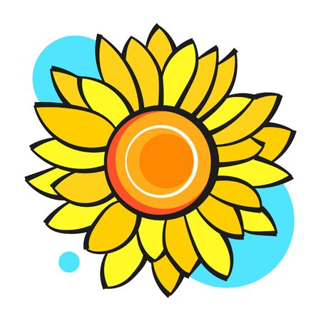 Sunflower Flower Isolated, Vector Illustration. Nature Background For Your Design