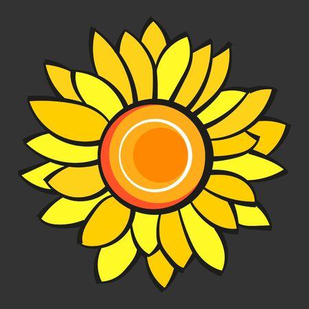 Sunflower Flower Isolated, Vector Illustration. Nature Background Çizim