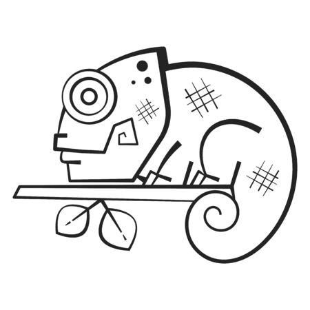 Cute Chameleon Coloring Book For Kids And Adults. Vector Illustration Illustration