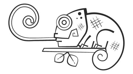 Cute Chameleon Coloring Book For Kids And Adults. Vector Illustration Çizim