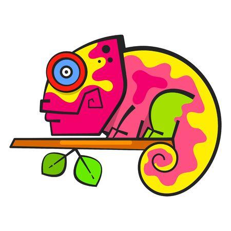 Chameleon Sitting On a Branch. Reptile Vector Illustration.