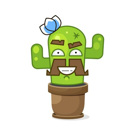 Funny Green Mexican Cactus . Isolated On White Background. Vector Illustration.