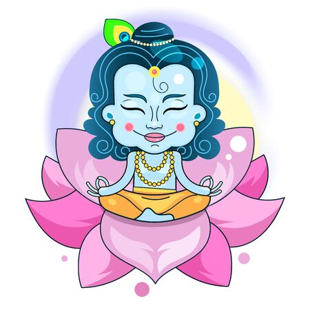 Vector Design Of Krishna On The Background Of Happy Holiday Janmashtami Festival