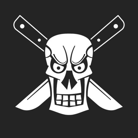 Evil Skull  . Hand Drawn Vector Illustration For Your Design And Needs