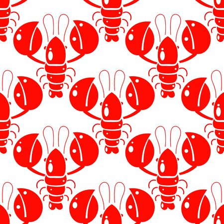 Seamless Pattern Of Lobsters. Red Crayfish. Template For Printing On Fabric. Design For Wrapping Paper. Illustration For The Menu Of The Restaurant. 向量圖像