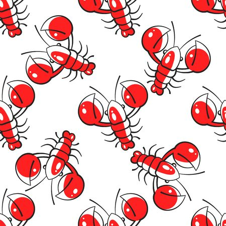 Seamless Pattern Of Lobsters. Red Crayfish. Template For Printing On Fabric. Design For Wrapping Paper. Illustration For The Menu Of The Restaurant. Illustration