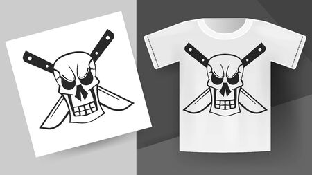 Skull With Knives Print On T-shirt. Vector Illustration For Your Products