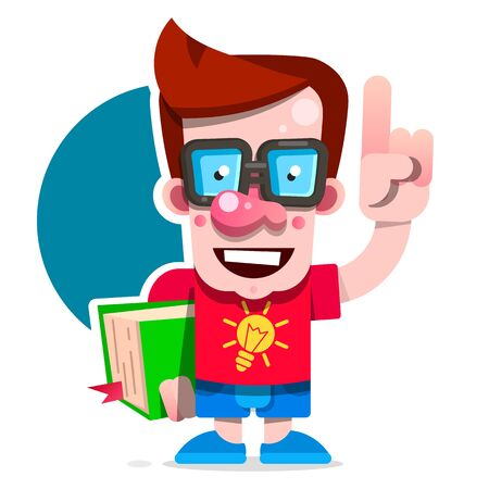 Cartoon Nerd Student Standing With A Book In His Hand. Concept Of Education. Smart Guy With Glasses. Flat Vector Design