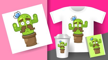 Cactus For Printing On T-shirts Mugs Printing Products Signage Vector Illustration Set Çizim