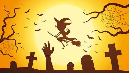 Vector Happy Halloween Design On Moon Background, Illustrations Illustration