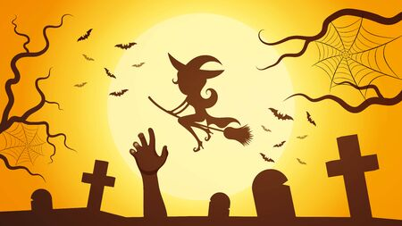Vector Happy Halloween Design On Moon Background, Illustrations Çizim
