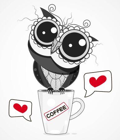 Un búho en una taza de café ilustración vectorial de dibujos animados aislado en el fondo. Diseño para tarjetas de felicitación, textiles decorativos