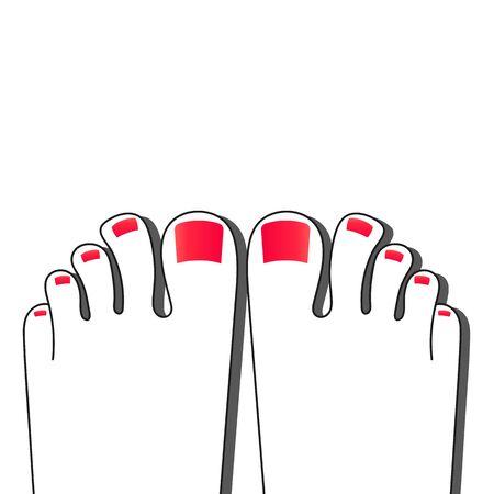 Pedicure Female Fingers Vector Illustration Of Female Feet Isolated On White Background Realistic Çizim