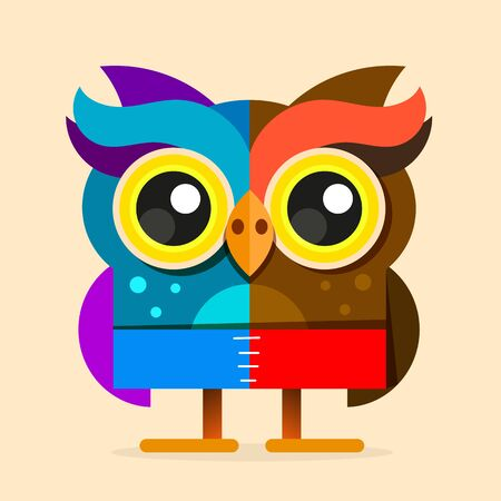 Cute cartoon Owl with feathers on light background