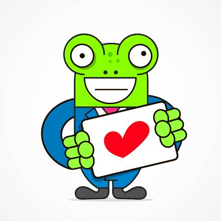 Saint Valentines Concept. Young Smiling Character Holding A Big Heart. Declaration Of Love. Flat Editable Vector Illustration, Clip Art