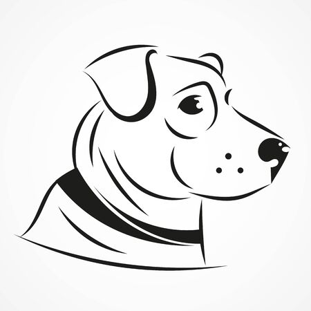 Vector Silhouette Of Dogs, Isolated On A Background. Vector Illustration