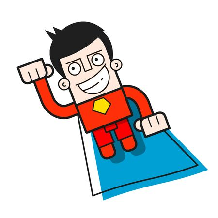 Superhero Flying Through The Air Logo Design Template. Vector Illustration For T-shirt, Flyers, Textiles And Your Needs Illustration