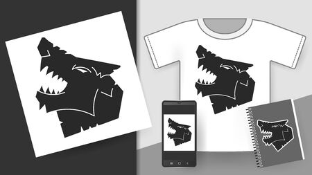 Wolf Design Template. Vector Illustration For T-shirts , Flyers Stock Illustratie