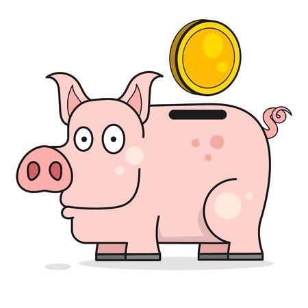 Piggy Bank Vector Illustration. Cartoon Vector Illustration. Vector Isolated. Cartoon Animal. Money Savings. 向量圖像