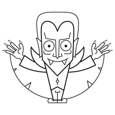 Färbung Dracula, tolles Design für jeden Zweck. Vektor-Zeichnung. Fantasie-Vektor-Illustration. Fröhliches Halloween. Buchseite. Vektorgrafik