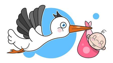 Stork With Baby In Cartoon Style On White Background. Newborn Baby Background. Ilustracja
