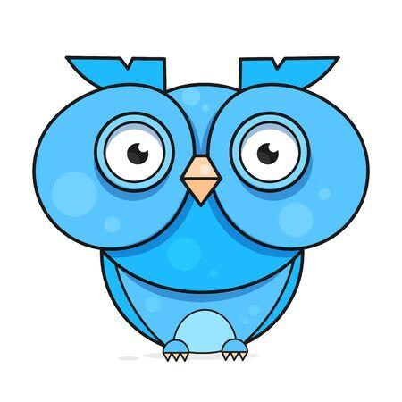 Cartoon Owl. Animal Wildlife Cartoon Character.