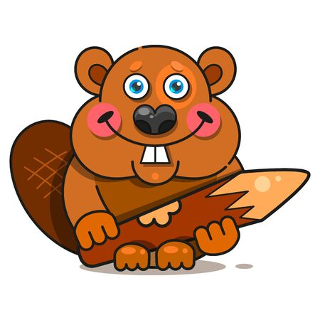 Beaver In Flat Style.