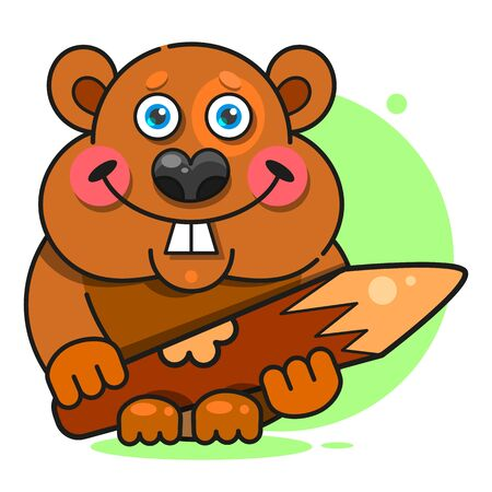 Beaver In Flat Style. Symbol Illustration. Ilustrace