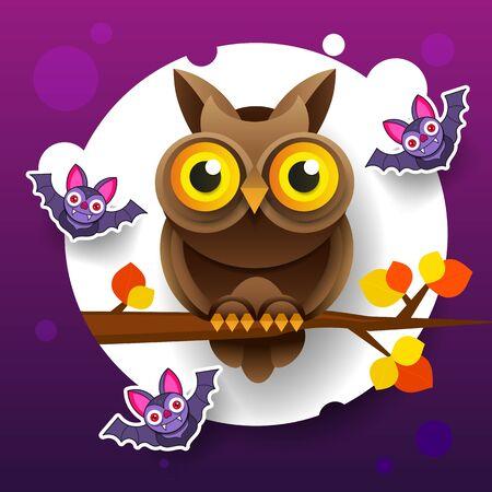 Abstract Halloween Owl For Holiday Design. Illustration Of Nature. Halloween Holiday Greeting Card. Cartoon Character. Sweet Halloween. Ilustracja