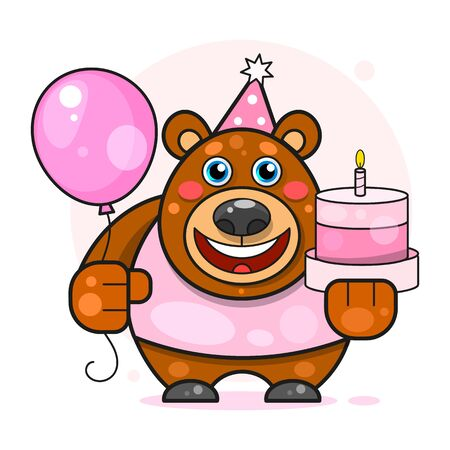 Happy Birthday For The Design Concept.teddy Bear. Retro Party Invitation Card. Birthday Decoration. Vector Illustration Template. Poster, Banner, Invitation.