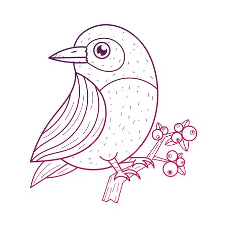 Bird On A Branch  Design Elements. Graphic Drawing, Engraving Style. Sketch Drawn.