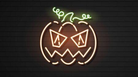 Halloween Pumpkins On Dark Background. Illustration Of The Autumn Season. Decorative Element. Halloween Face . Seasonal Banner. Halloween Poster.
