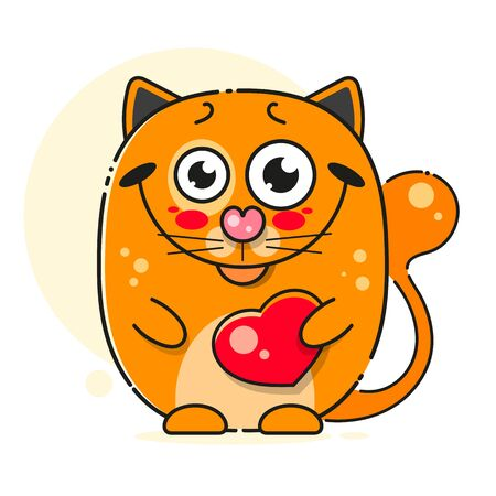 Red Cat, Great Design For Any Purposes. Cartoon Illustration. Baby Collection. Graphic Art. Animal Design. Cartoon Character Design.