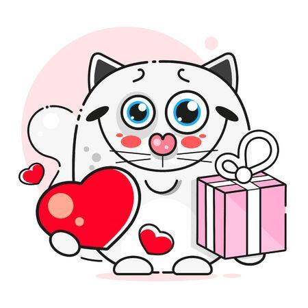 Beautiful White Cat, Great Design For Any Purposes. Black White Illustration. Ilustracja