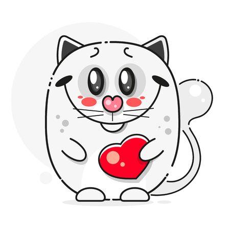 Beautiful White Cat, Great Design For Any Purposes. Black White Illustration. Cute  Illustration. Ilustracja