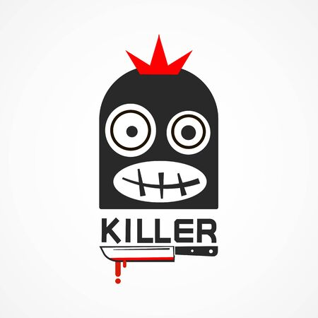 Maniac Man With A Knife, Thief Criminal Person. Icon. Ilustracja