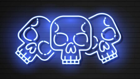 Neon, Skull, Mexican Holiday Day Of The Dead
