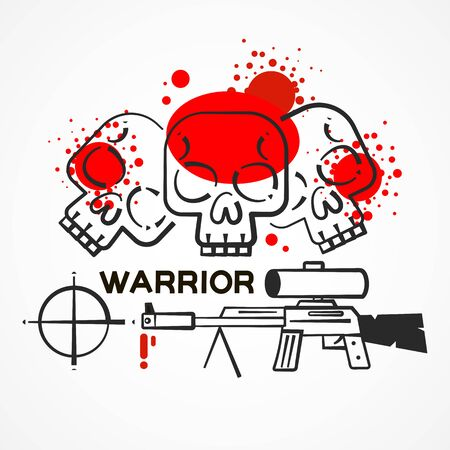 Warrior text On White Background. Conception Of History. Spartan Warrior. Talisman Of The Warrior.