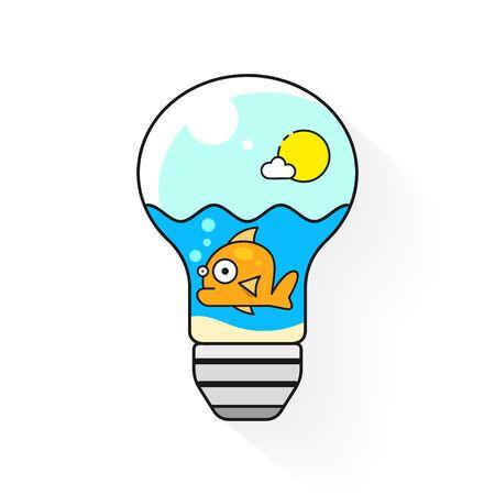 Aquarium fish in a light bulb illustration on white background