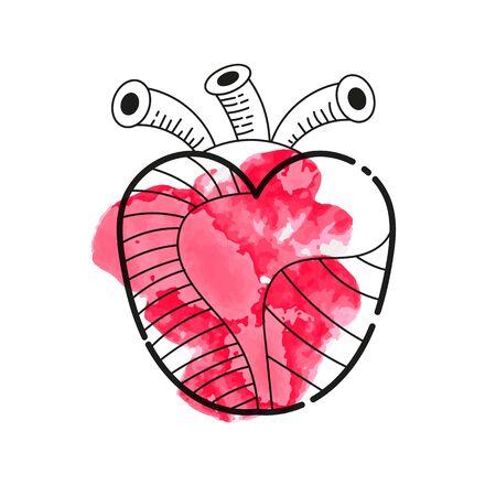 Illustration With Red Valentine Heart On White Background Ilustracja