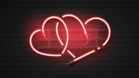 Red Heart Neon Sign On Brick Background.