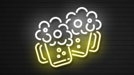Neon lager beer Icon. Glass of beer isolated on brick background